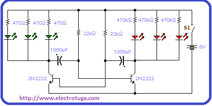 Diagrama esquemático do circuito Led box pisca.